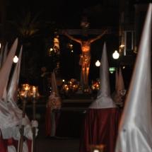 La Confraria amb el Pas del Sant Crist al fons. Processó Setmana Santa de Felanitx de 2009