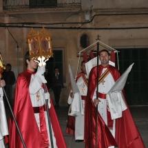 En Tià, en Miquel i en Jordi abans de partir la Processó. Processó Setmana Santa de Felanitx de 2009