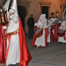 Confrares i tamborers preparant-se abans de partir la Processó. Processó Setmana Santa de Felanitx de 2009