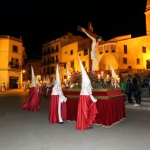 Pas del Sant Crist davant l'Església de Sant Miquel. Processó Setmana Santa de Felanitx de 2014